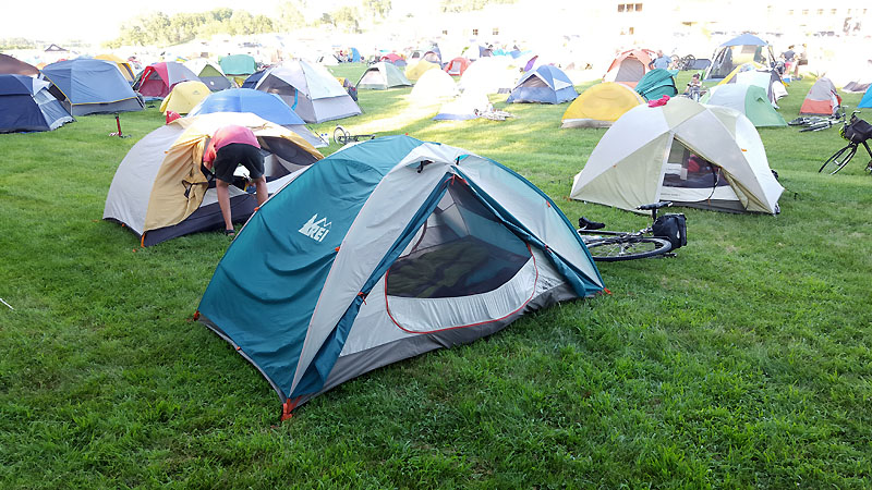 Tent setup at Glenwood High School