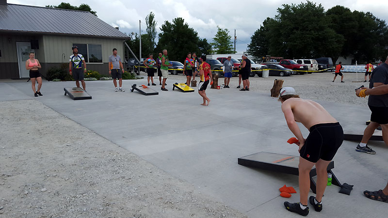 Cornhole games at Greiner Builders
