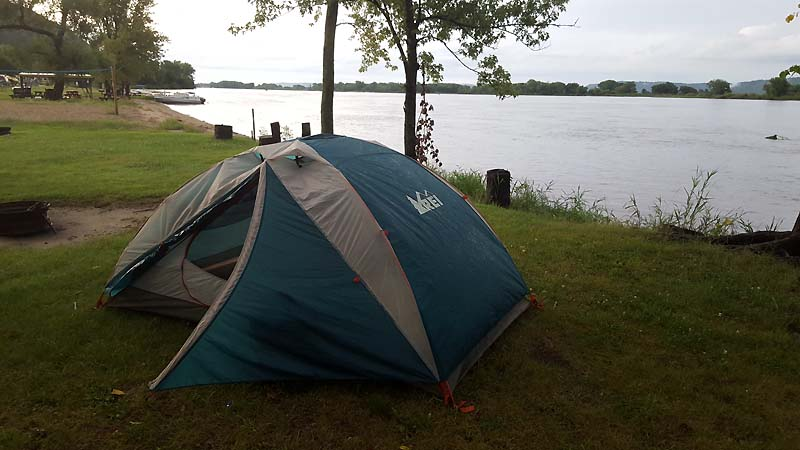 Idyllic campsite by the Mississippi River