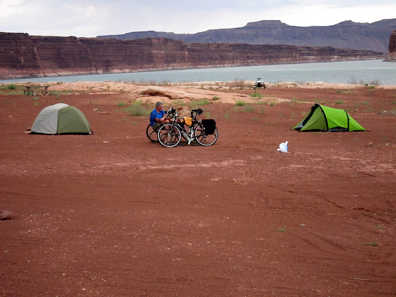 Camping on the shore of Lake Powell