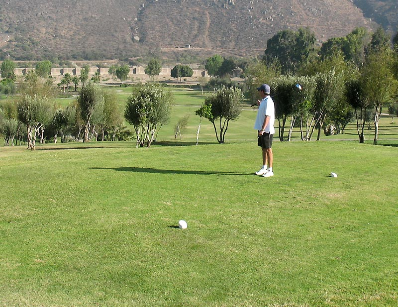 Phil sizing up a tee shot at Baja Country Club