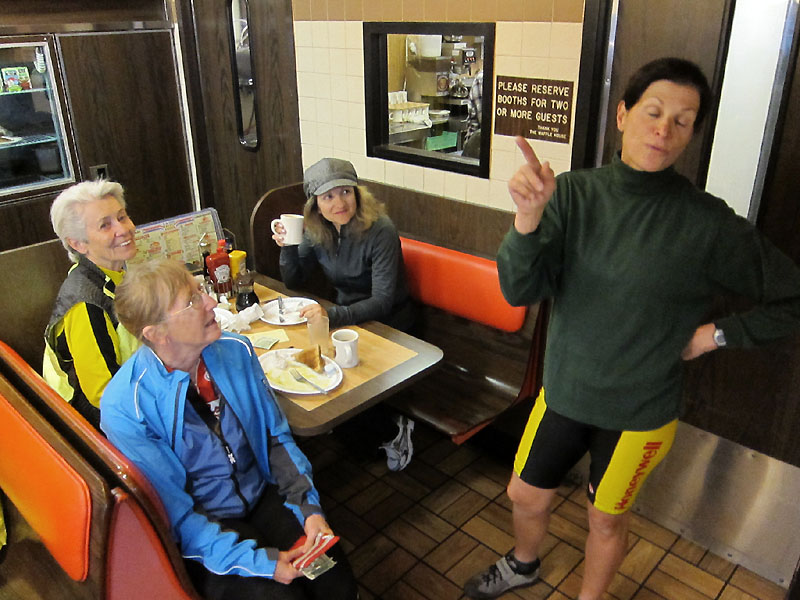 Jan, Carol, Erin, and Jan at the Waffle House