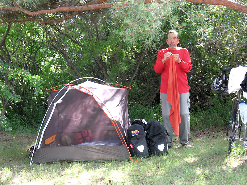 Randy setting up camp