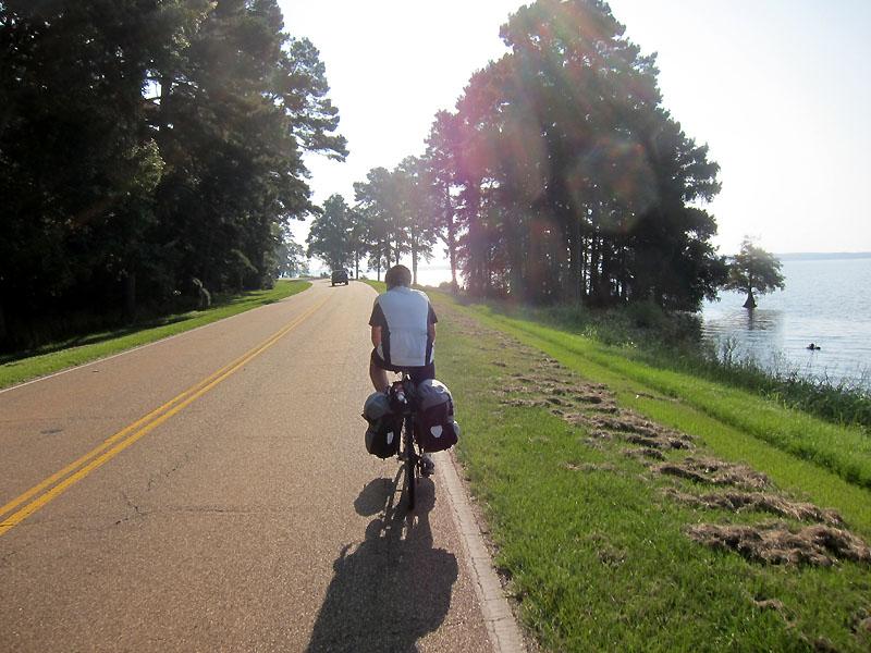 Riding beside the reservoir